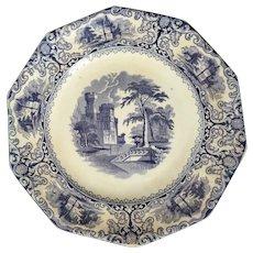 English Staffordshire Transferware Plate Pearl White Foliage Design 19th Century