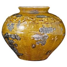 Chinese Han Molded Ochre Glazed Stoneware Pot 206 BC to 220 AD