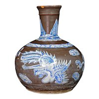 Chinese 19th C Brown Glazed and Enamel Pottery Hookah Base