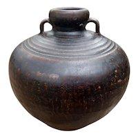 Antique Sukhothai Black ware Jar with Handles 15th-16th C
