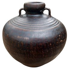 Antique Sukhothai Black ware Jar with Handles 15th-16th C