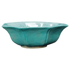 Chinese Robins Egg Blue Octagonal Ceramic Bowl Late Qing/Republic