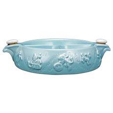 Mid-century Hankscraft Turquoise Nursery Rhyme Baby Food Warming Dish