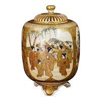 Japanese Meiji Satsuma Censer with Warriors, Beauties and Bodhisattvas