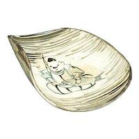 Japanese Raku Fisherman Dish Meiji Period
