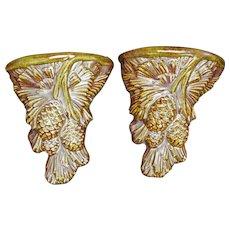 Pair of Ceramic Pine Cone Wall Pockets 1963
