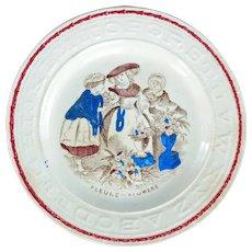 English Staffordshire Transferware Child's ABC Plate Fleurs 19th Century