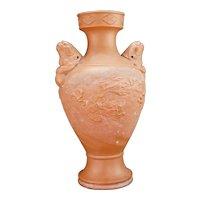 Japanese Tokoname Redware Dragon Vase Late Meiji/Taisho