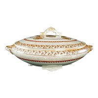 English Aesthetic Movement Transferware Covered Serving Dish by Brownfield Circa 1870