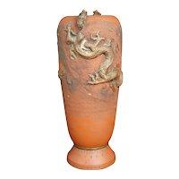 Japanese Tokoname Redware Dragon Vase Late Meiji/Taisho Era
