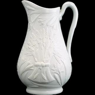 Staffordshire English Parian Ware Wheat Design Pitcher 19th Century