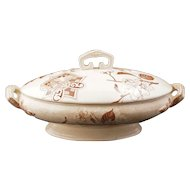 English Victorian transferware tureen with lid in an aesthetic movement Japanese style circa 1870