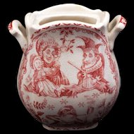 Antique Staffordshire Allerton Punch and Judy biscuit jar soft paste with red transfers circa 1880