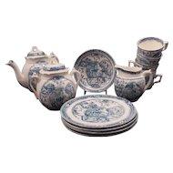 Late Victorian C. Allerton 14 piece soft paste transferware child's tea set with girl and dog design circa 1880