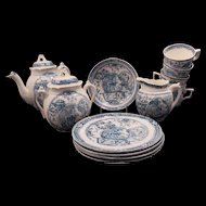 Late Victorian C. Allerton 14 piece soft paste transferware child's tea set with girl and dog design circa 1880