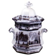 Paneled ironstone Sugar Bowl with willow transfer design in flow black circa 1850