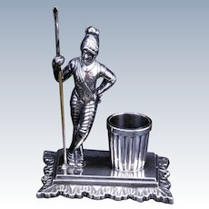 Middleton Victorian silver plate toothpick holder of a knight circa 1870