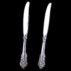 Pair of vintage Wallace sterling silver .925 Grand Baroque dinner knives with stainless blades c 1941