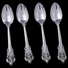 Set of four vintage Wallace sterling silver 9.25 Grand Baroque pattern teaspoons c 1941