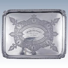Victorian presentation silver plate tray late 19th century
