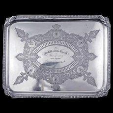 Victorian presentation silver plate tray late 19th century