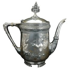 Aesthetic Movement Victorian silver plate teapot by Meriden circa 1870