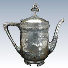 Aesthetic Movement Victorian silver plate teapot by Meriden circa 1870