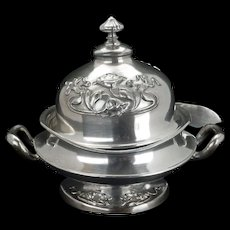 Art Nouveau silver plate butter dish by Forbes Silver Plate Company circa 1900
