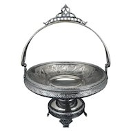 Victorian Aesthetic Movement silver plate cake basket by Meriden circa 1870