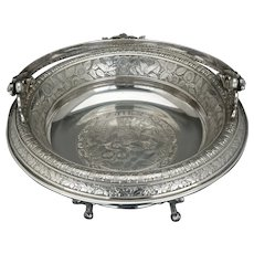 Victorian Silver Plate Cake Basket by Rogers with Bird and Nest Design Circa 1870