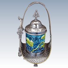 Aesthetic Movement Victorian enameled blue glass and silver plate pickle castor by Meriden circa 1870