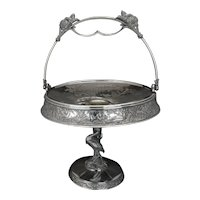Large Aesthetic Movement silver plate cake basket with Heron base Roger Brothers circa 1870