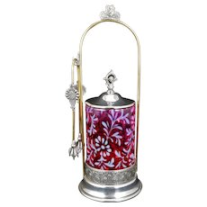 Victorian Pickle Castor by Pairpoint with Cranberry Glass circa 1870