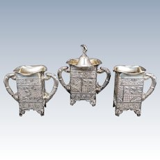 Victorian Aesthetic Movement Silver Plate Tea Set by Rockford Circa 1870