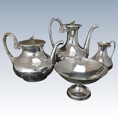 Antique Silver Plate Neoclassic Edwardian 4-Piece Tea Set Early 20th Century