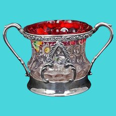 Victorian Enameled Glass with Silver Plate Sugar Bowl Aurora circa 1890