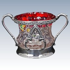 Victorian Enameled Glass with Aurora Silver Plate Sugar Bowl circa 1890