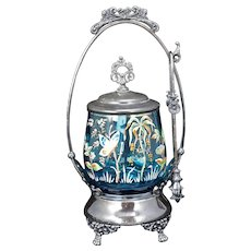 Victorian Silver Plate Pickle Castor with blue enameled glass M.S. Benedict circa 1870