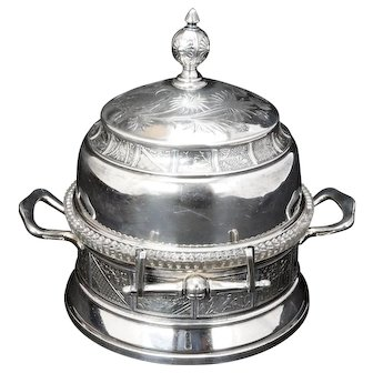 Aesthetic Movement Victorian Silver Plate Reed and Barton Domed Butter Dish circa 1870