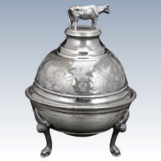 Victorian Silver Plate Cow Butter Dish late 19th Century
