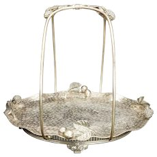 Silver Plate Cake or Fruit Basket With Berries and Cherries Meriden late 19th Century