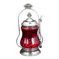 Victorian Cranberry Glass Pickle Castor Manhattan Silver Co. Late 19th Century