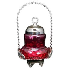 Victorian Pear Shaped Cranberry Glass Silver Plate Pickle Castor Late 19th Century