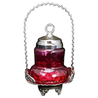 Victorian Pear Shaped Cranberry Glass Silver Plate Pickle Caster Late 19th Century