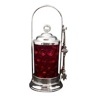 Victorian Cranberry Thumbnail Glass Pickle Castor late 19th Century