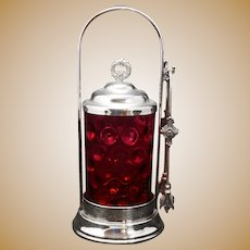 Victorian Cranberry Thumbnail Glass Pickle Caster late 19th Century