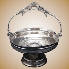 Aesthetic Movement Derby Silver Plate Cake Basket Circa 1870