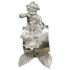 Victorian Fairy and Butterfly Figural Napkin Ring Late 19th Century