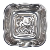Art Deco Antelope Silver Plate Nut Bowl Circa 1940 by International Silver