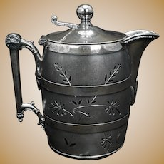 Victorian Simpson Hall Miller Silver Plate Syrup Barrel Shaped Circa 1870
